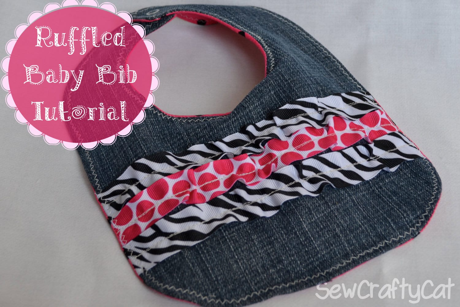 Ruffled Ribbon Denim Bib