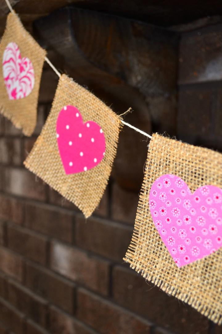 Fabric hearts on burlap banner