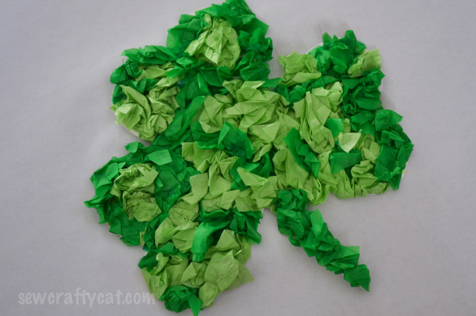 Finished tissue paper shamrock