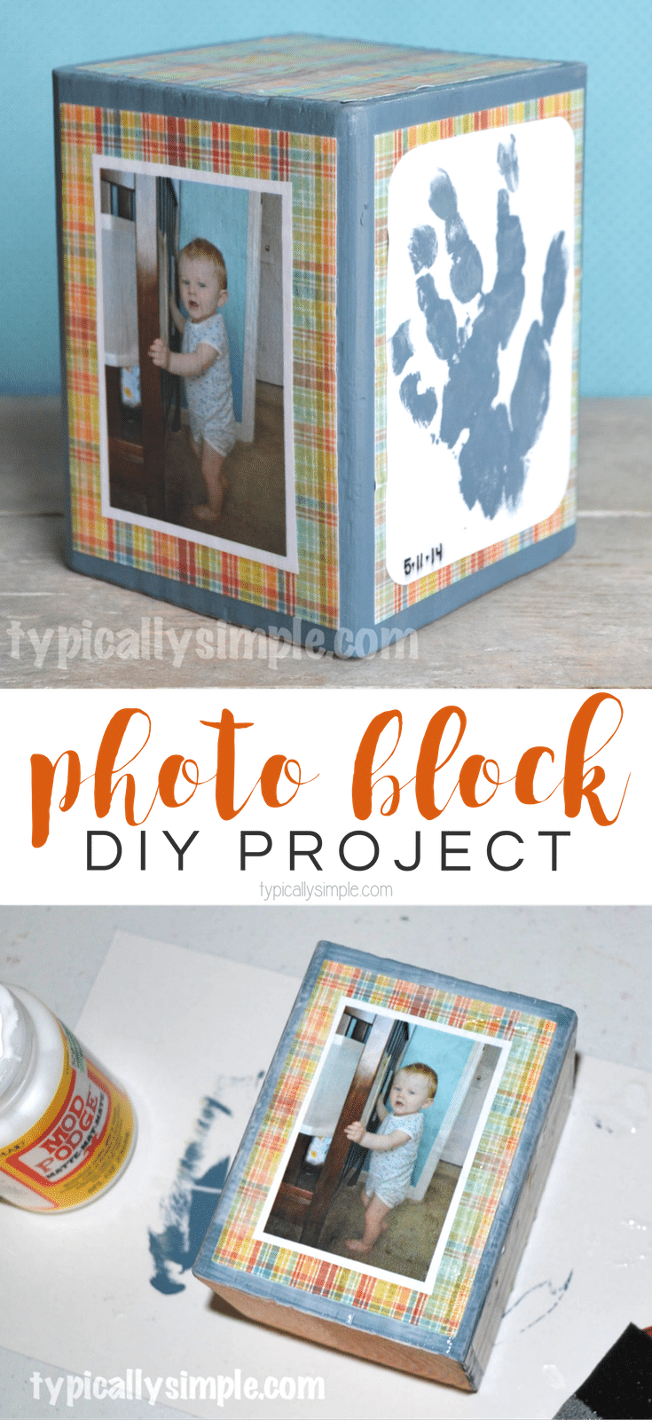 A homemade gift that is perfect for displaying favorite photos, handprints, or even little drawings made by the kids. This DIY Photo Block is a simple project to make as a Mother's Day or birthday gift!