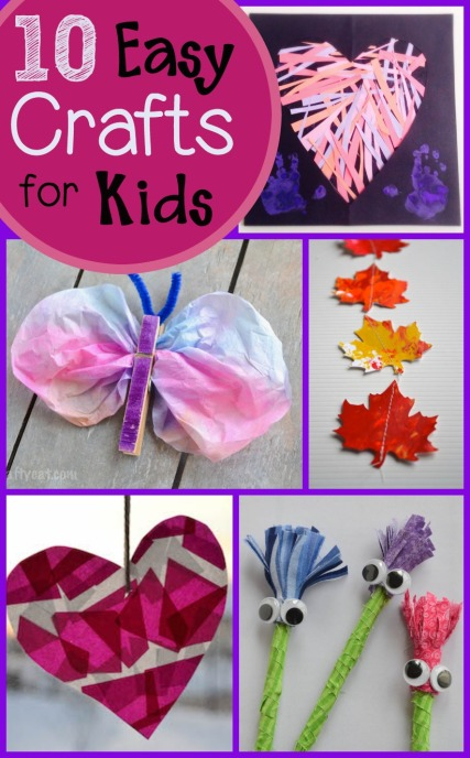 10 easy and simple, but oh so fun, crafts for kids preschool aged and up!