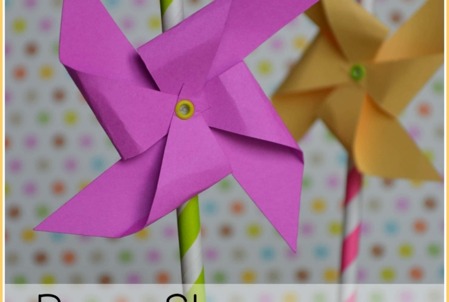 Create these super easy and super cute paper pinwheels to decorate straws for a party! Can also be used for centerpieces, garland, or other party decor!