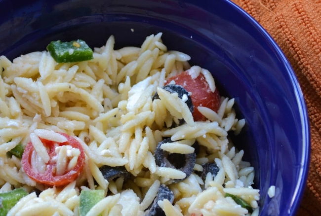 This simple orzo salad is a perfect side dish to compliment any meal!