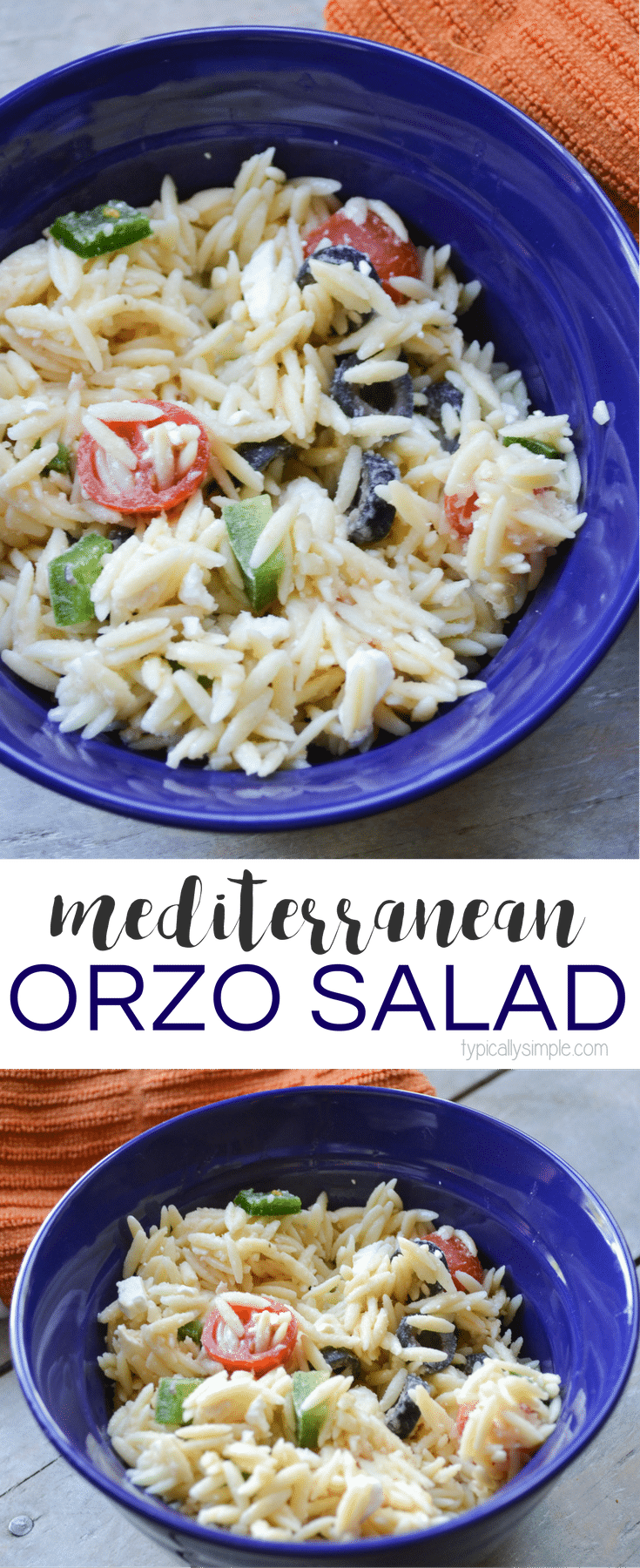 This Mediterranean orzo salad includes feta cheese and fresh, crisp veggies. It pairs well with so many main dishes and is especially yummy when served at a summer BBQ!