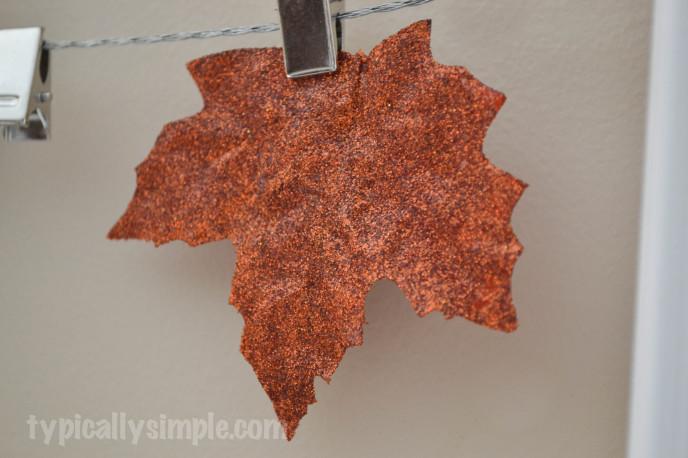 Fall Photo Display Glitter Leaves