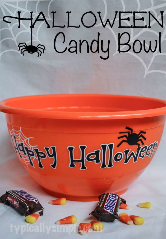 Halloween Candy Bowl with Spiders