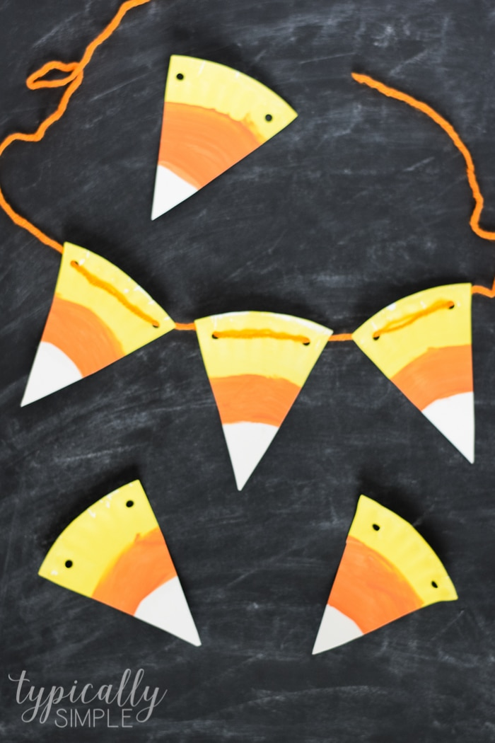 Paper Plate Candy Corn Bunting Typically Simple