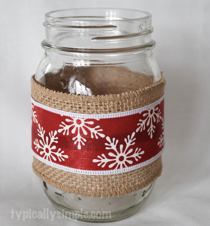 Burlap and Ribbon Mason Jar Vase