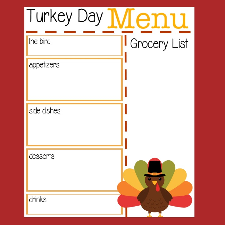 A cute printable to help you plan your Thanksgiving Day Menu, including an area to jot down a grocery list. Two versions of this free printable are available!