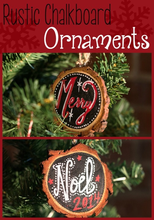 These rustic chalkboard ornaments are the perfect Pottery Barn inspired decor for Christmas! Craft your own or ordered all the supplies from Darby Smart!