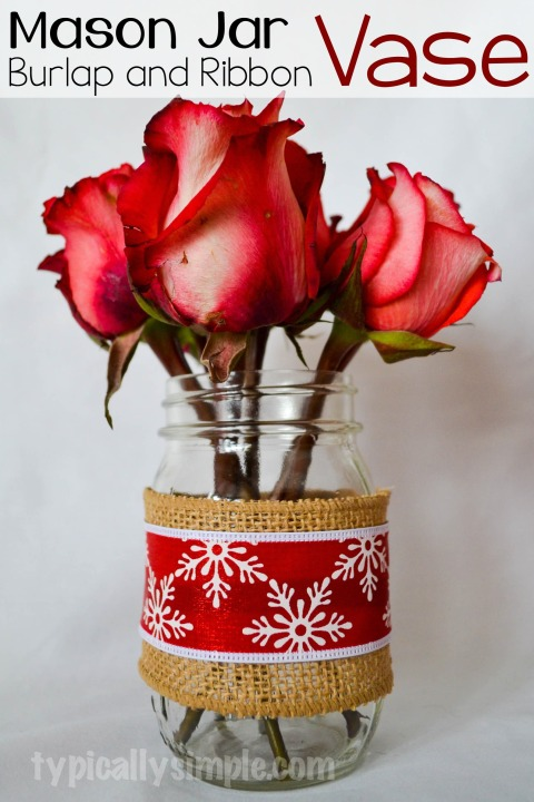 Simple to make craft project using mason jars, burlap, and ribbon. These vases are perfect for Christmas centerpieces!