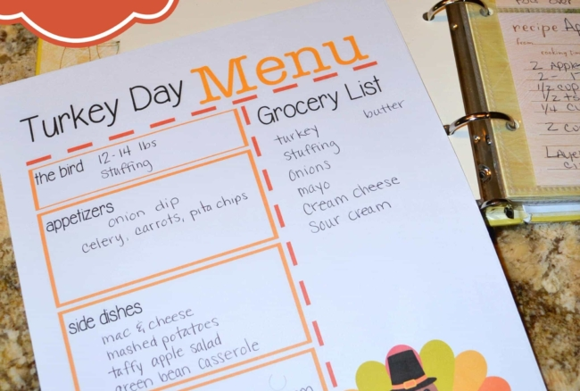 Turkey Day Menu Planner