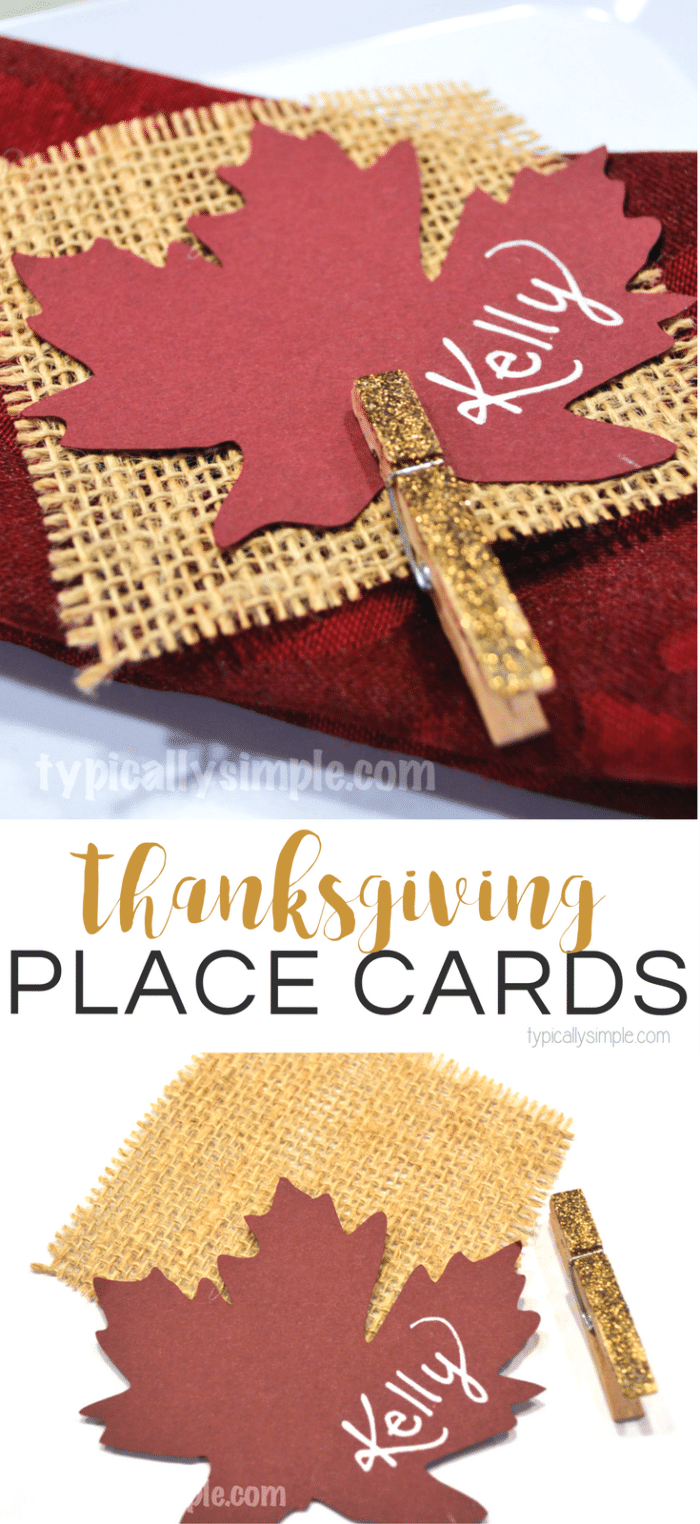 With a little bit of glitter and some burlap, these easy to make place cards are a perfect way to dress up the table for Thanksgiving!