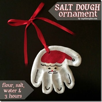 Make this adorable Santa handprint ornament out of salt dough! You can find the recipe and directions on the blog!
