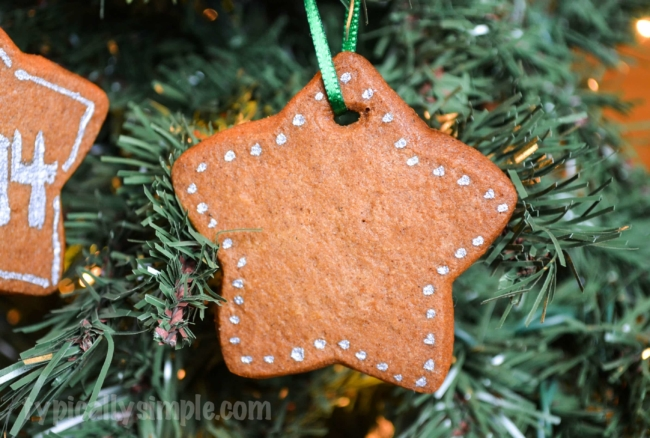 Make these simple, but deliciously scented, Gingerbread Christmas Ornaments while baking your next batch of cookies. Super easy directions! Fun for kids to decorate with paint!