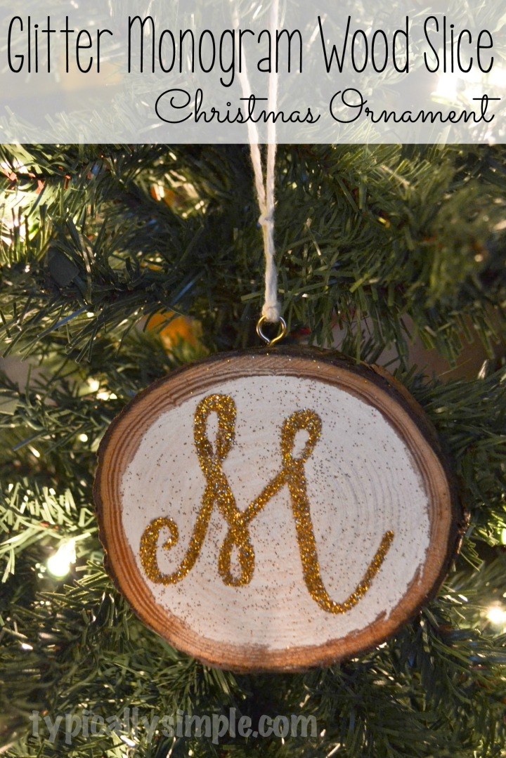 A simple glitter monogram ornament that would be great to personalize as a stocking stuffer or gift tag!