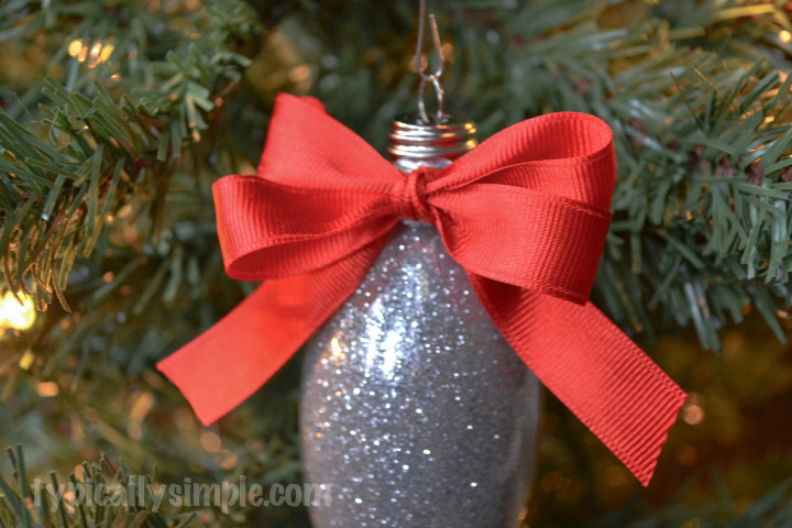 A simple Christmas ornament to make using glitter and glass ornaments to add some sparkle to your tree!