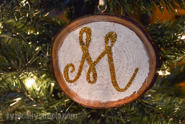 Glitter Monogram Wood Slice Ornaments