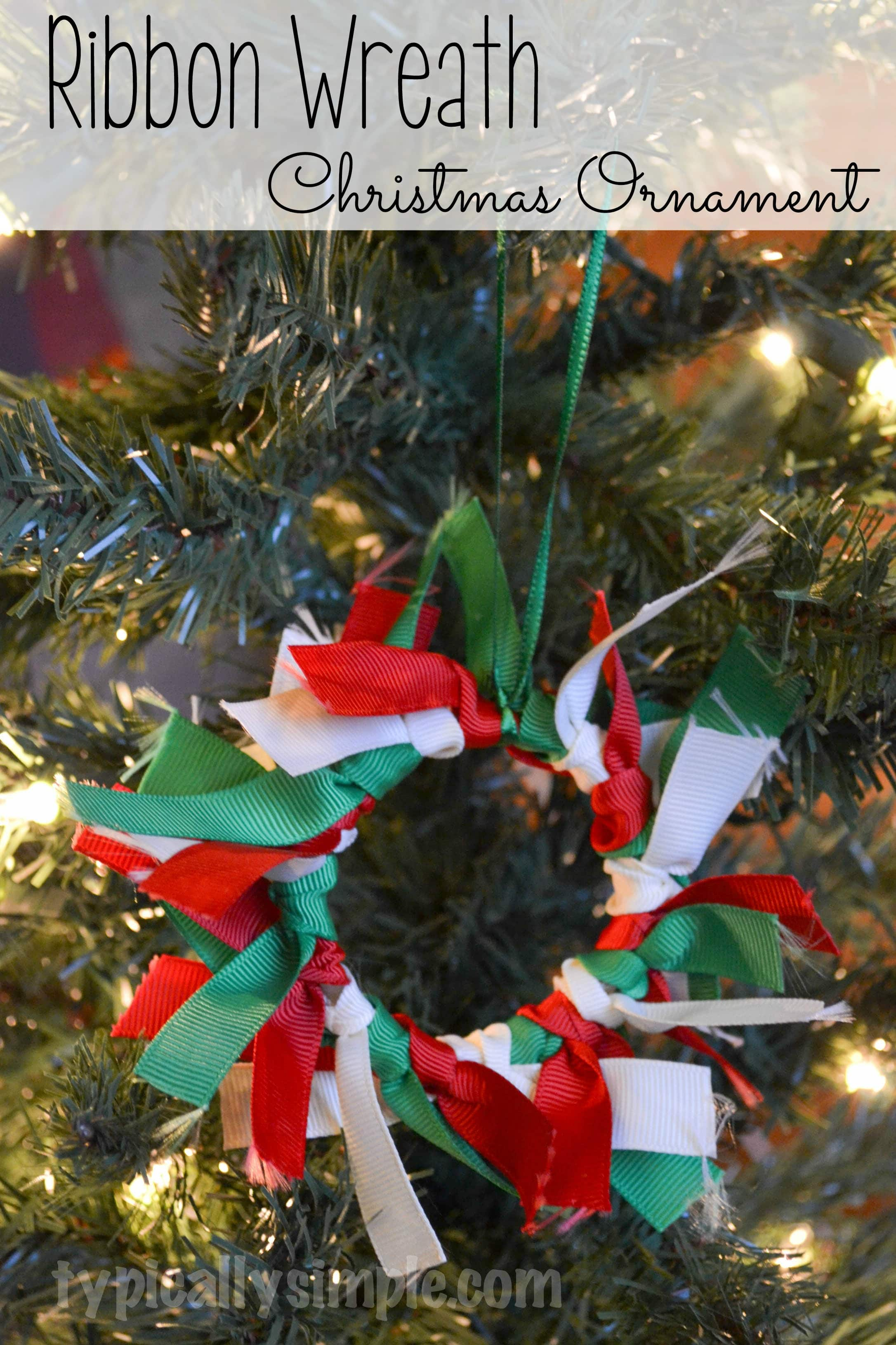 a fun christmas ornament for kids using ribbon perfect for them to make for grandparents
