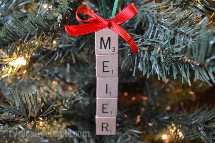 For the Scrabble lovers in your life, craft this simple Christmas ornament using Scrabble tiles!
