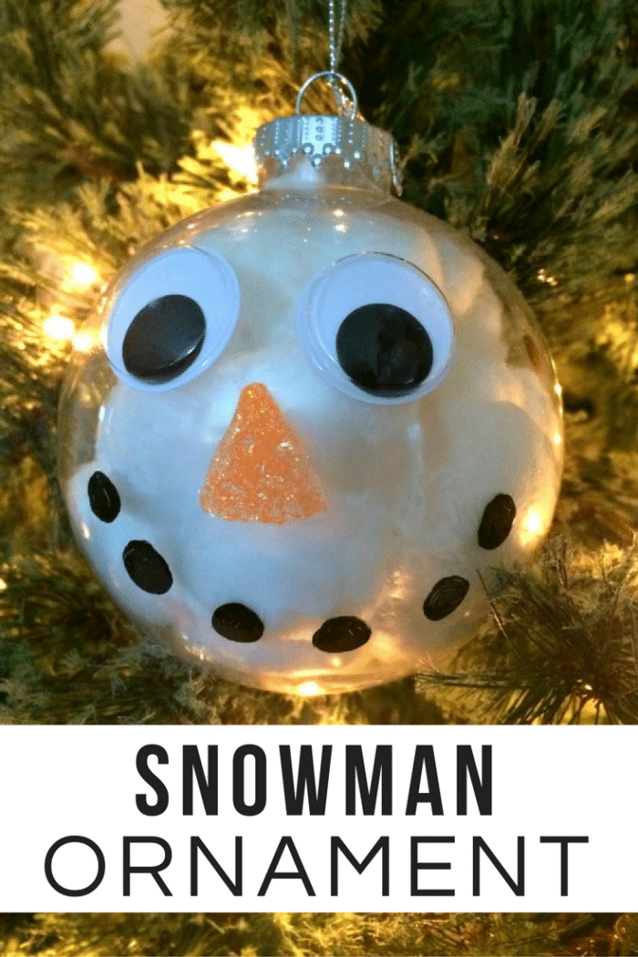 Make this cute snowman ornament with just a few craft supplies. A great Christmas craft project for kids of all ages!