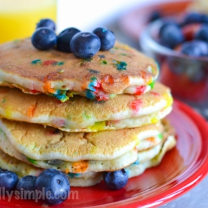 An easy to make blueberry pancake recipe, complete with sprinkles! A great way to make breakfast fun!