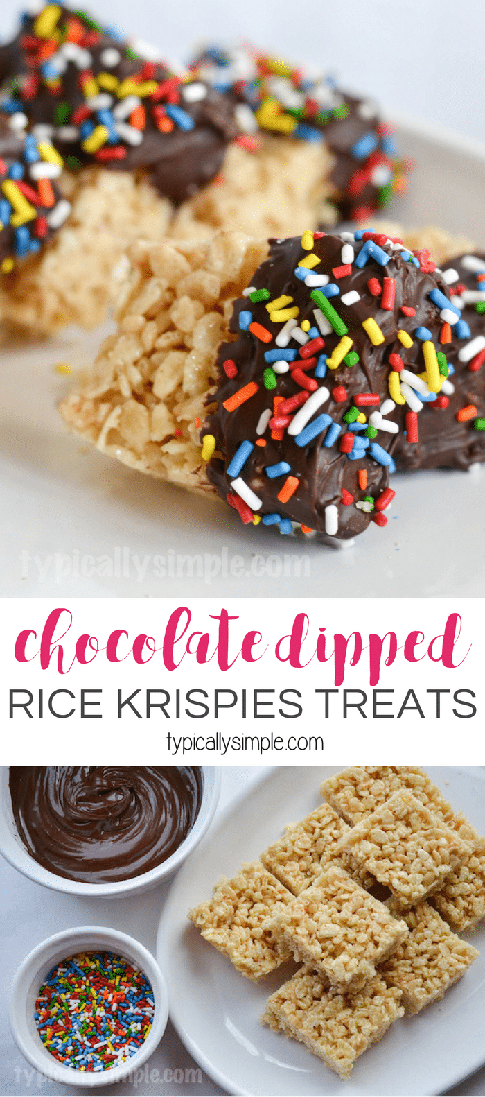 Dipping Rice Krispies treats into melted chocolate is a fun twist on a classic childhood treat we all know so well. A simple recipe to make with the kids!