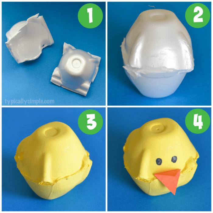 Steps for making egg carton chicks
