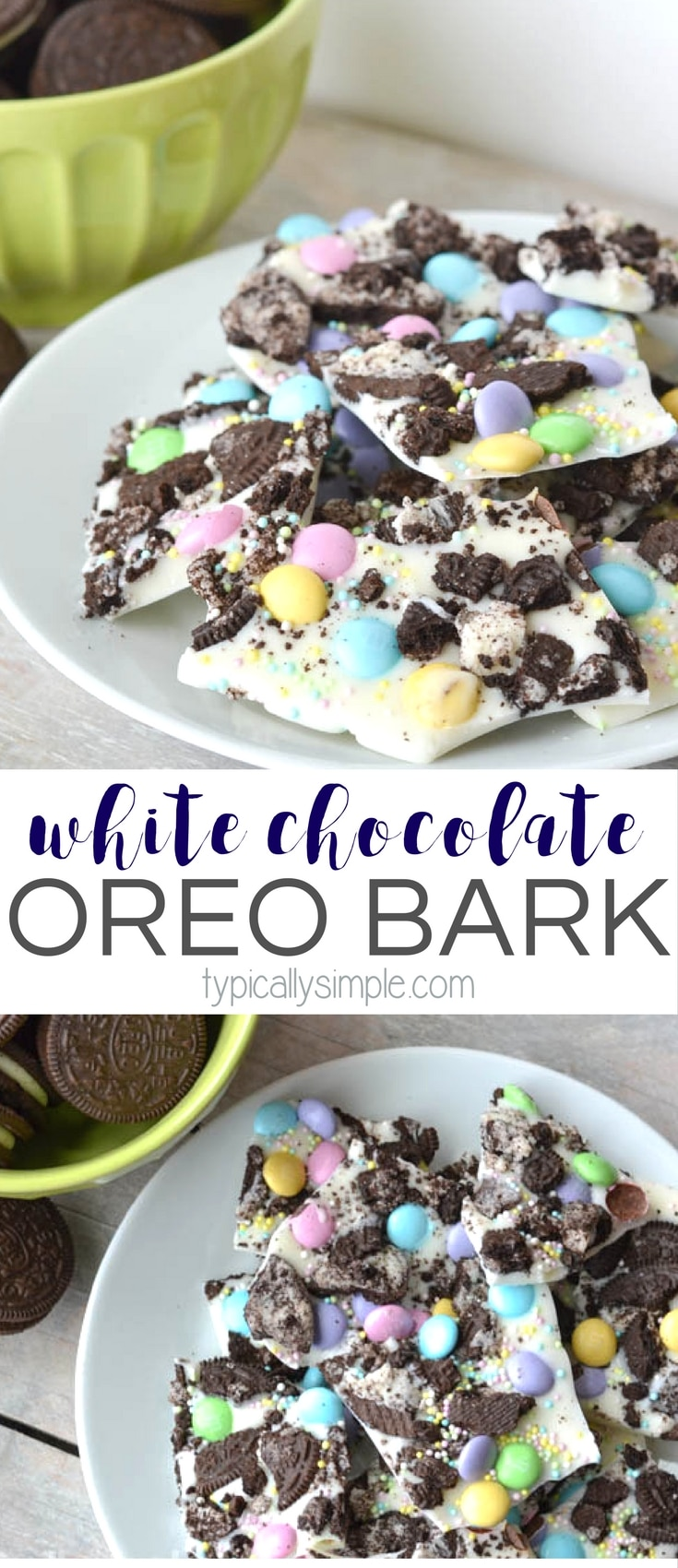 Packed full of pastel colored M&M's, this white chocolate Oreo bark recipe is super simple to make! A perfectly delicious treat for Easter!