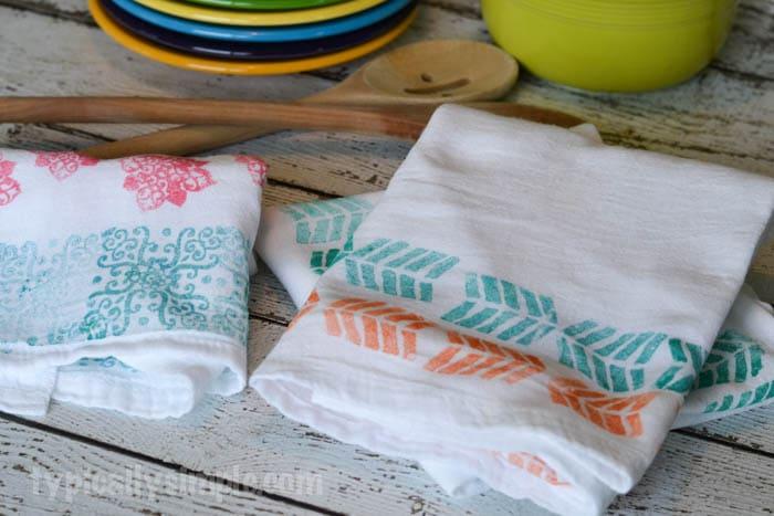Block Printed Flour Sack Towels