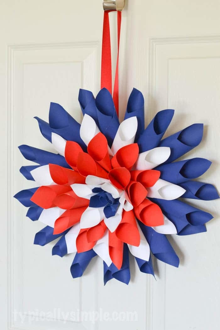 Patriotic Paper Dahlia Wreath