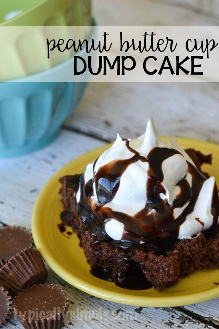 This peanut butter cup dump cake requires only four ingredients which makes it perfect for a last minute dessert!