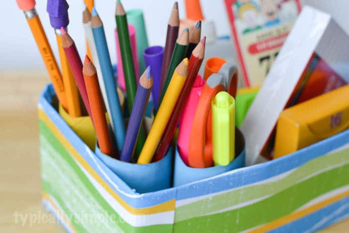 Upcycled School Supplies Organizer