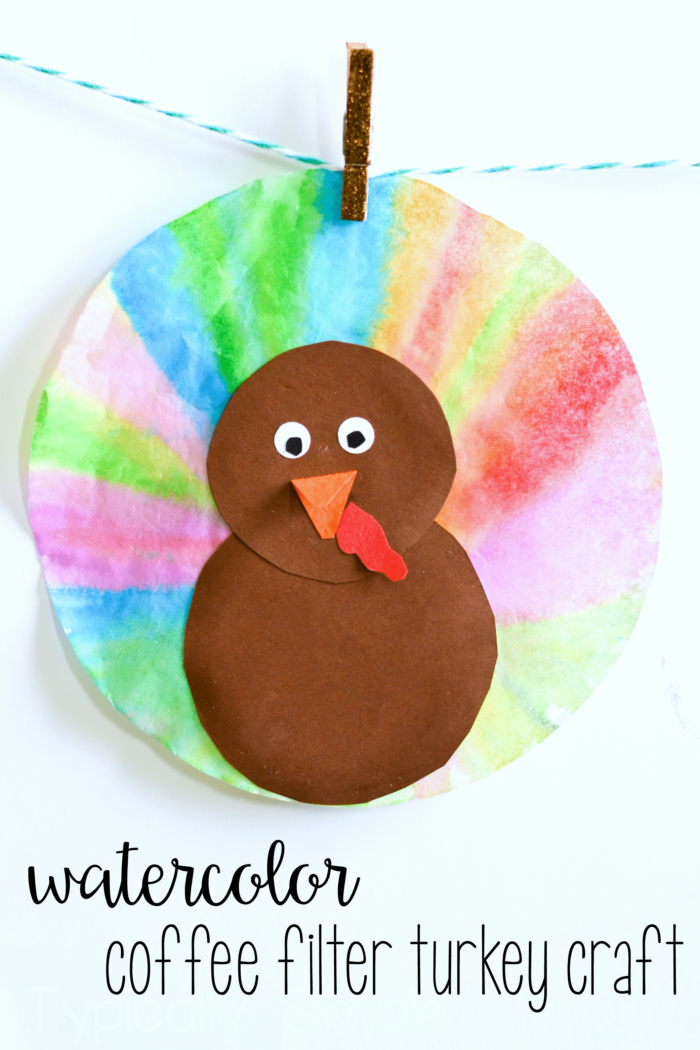 Watercolor coffee filter turkeys typically simple for Coffee crafts
