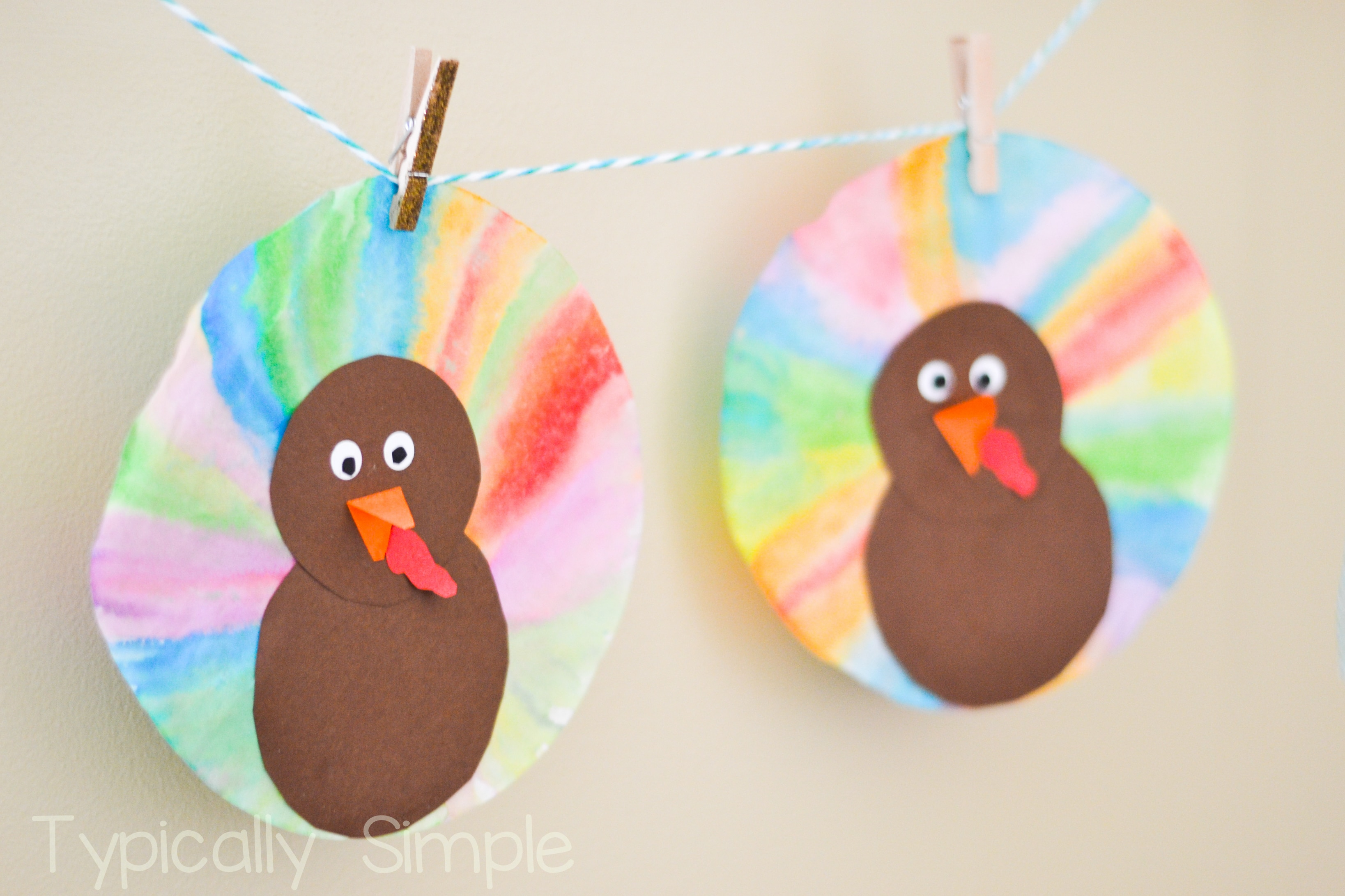 Watercolor Coffee Filter Turkeys