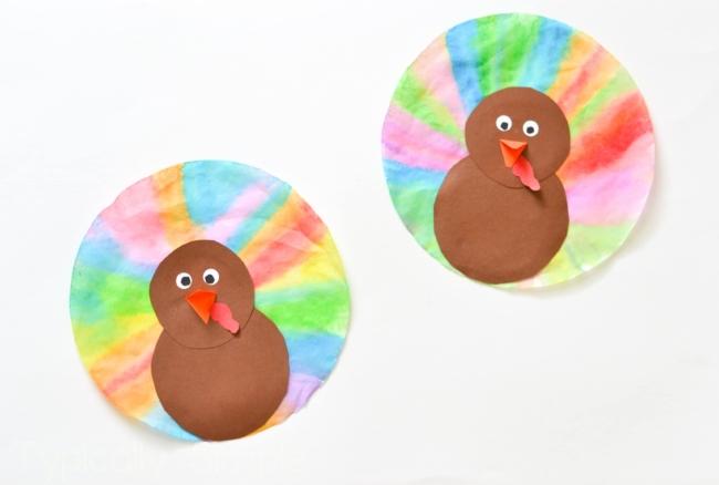 Watercolor Coffee Filter Turkeys