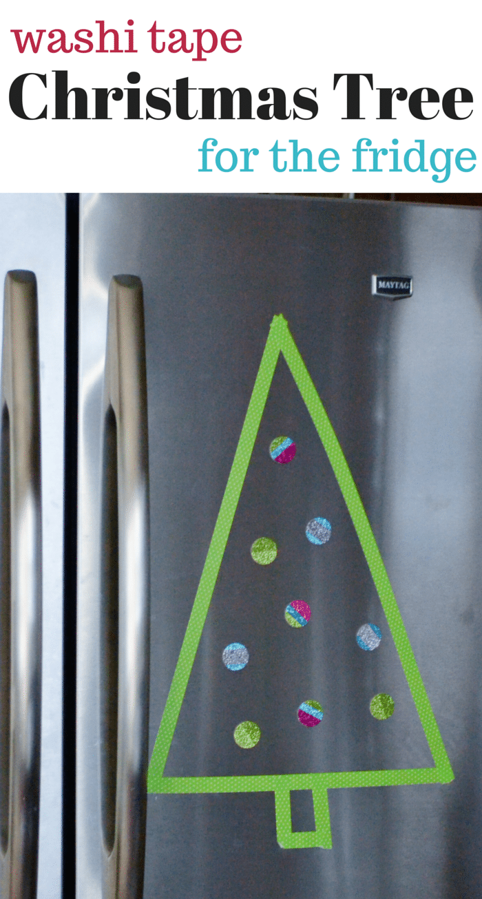 Using Scotch® Brand Expressions Tape to create a fun Christmas craft project on the fridge!