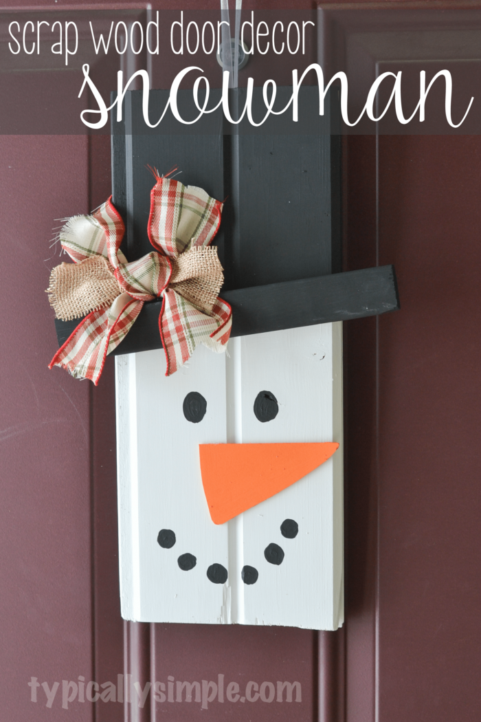With two pieces of scrap wood, some paint, and a few other supplies from your craft stash, create this cute rustic snowman to hang on your front door!