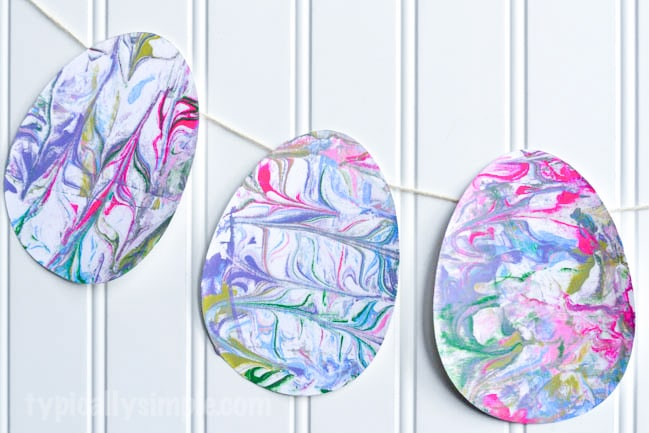 Shaving Cream Marbled Paper Easter Eggs