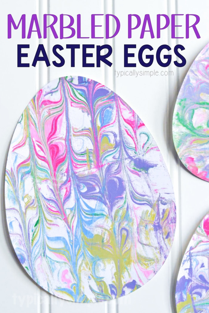 colorful paper easter eggs using marbled paper