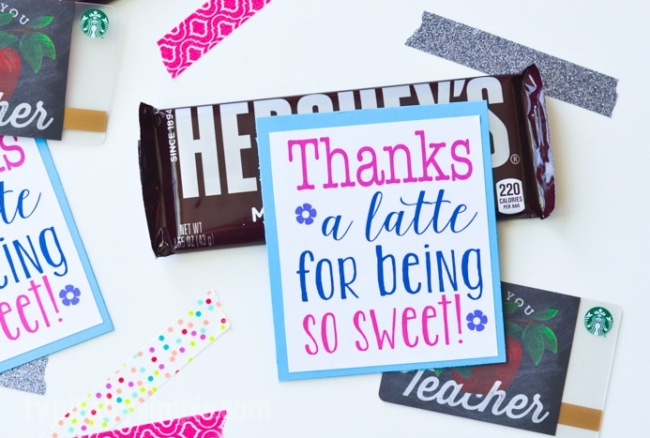 A free printable to show someone how much you appreciate them! Attach a coffee shop gift card and some chocolate for a sweet gift to give to a teacher, co-worker, or friend!