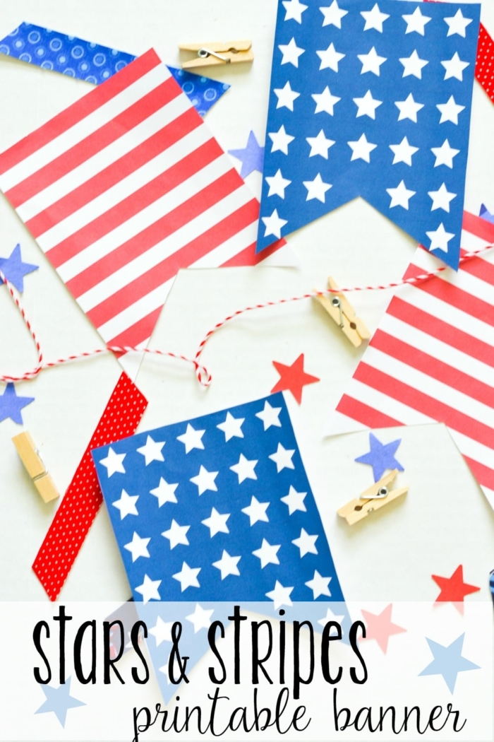 Print out this stars & stripes banner to add some patriotic decor to your home! Perfect for the 4th of July, Memorial Day, or Labor Day, this stars & stripes banner is an inexpensive way to decorate with red, white & blue.