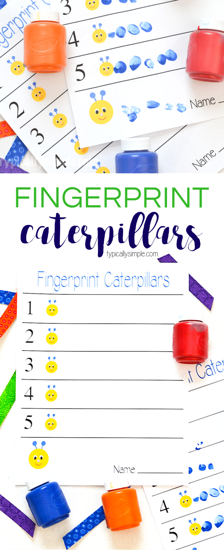 These fingerprint caterpillars are a fun way to work on number awareness! A simple craft project that only needs the free printable and some paint.
