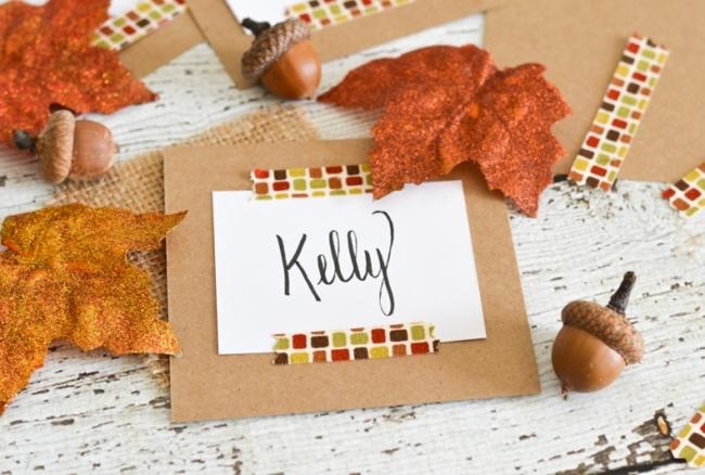 Fall Fabric Washi Place Cards