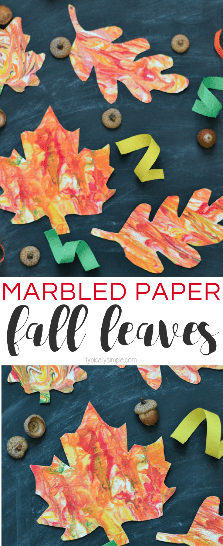 Grab a few supplies and make these unique marbled paper fall leaves with the kids! A fun craft project for fall!