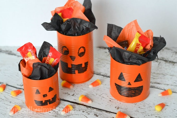 Tin Can Pumpkins Halloween Craft