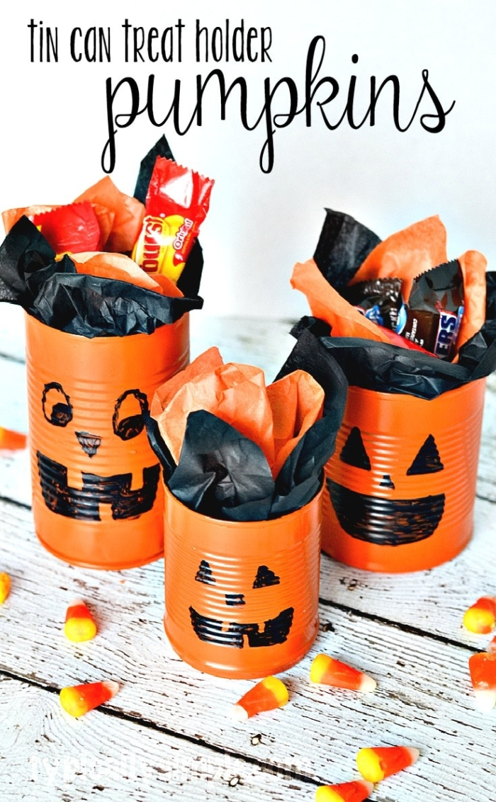 Tin can pumpkins halloween craft typically simple for Halloween party games for preschoolers