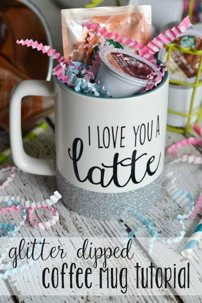 With a few basic craft supplies, make a glitter dipped coffee mug! Perfect to keep for yourself or give as a gift with a few k-cup pods! #ad
