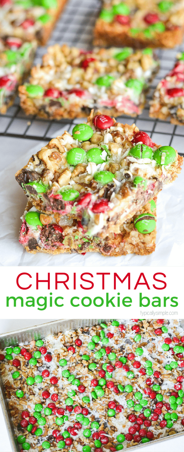 These Christmas Magic Cookie Bars are SO simple to make! They are a perfect treat to make with the kiddos for parties or to package up as a yummy gift.