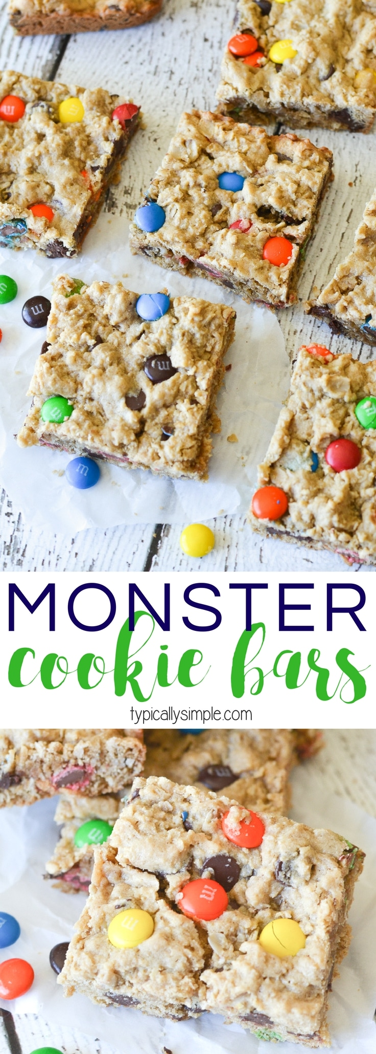 These Monster Cookie Bars are just as delicious as their cookie cousins - packed full of yummy chocolate chips and M&M's and just the right amount of soft and chewy texture!